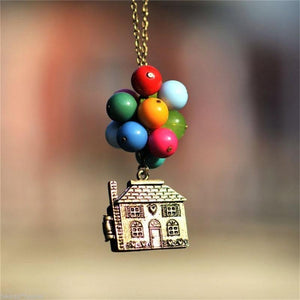 Vintage Movie Balloon House Up Necklace Women Colorful Beads Pendant Long Necklaceintothea-intothea