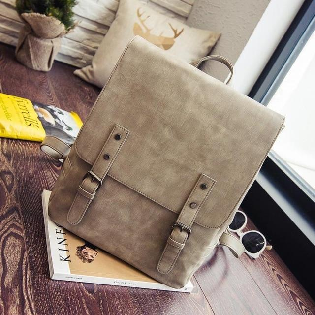 2017 Women Backpack Vintage Shoulder Bag PU Leather Backpacks Simple Style Casualintothea-intothea