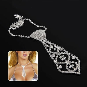 Men Women Kids Elegant Glitter Rhinestone Tie Shaped Necklace for Prom Partyintothea-intothea
