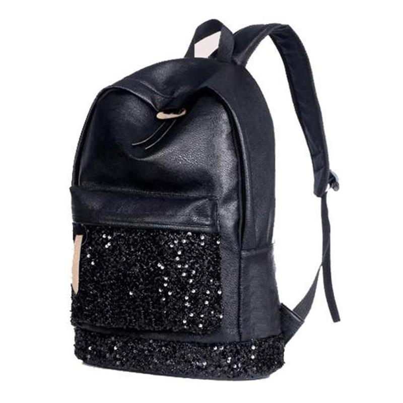TEXU leather Backpack Women shining Crown Embroidered Sequins PU Leather shoulder bagintothea-intothea