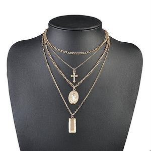 New Religious vintage Simple Chain Gold Silver Color Tassel Cross humanoid Pendantintothea-intothea