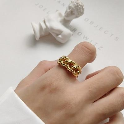925 sterling silver industry wind open rings gold fashion Irregular twist crudintothea-intothea