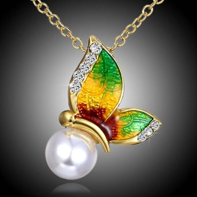 Crystal Metal Printing Butterfly Necklace For Women Imitation Pearl Butterfly jewelry butterflyintothea-intothea