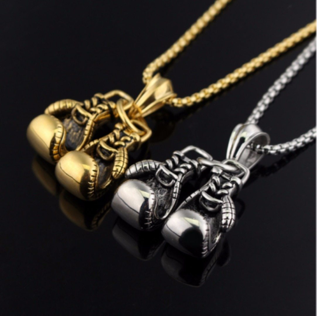 Fashion Sport Fitness Jewelry Double Boxing Glove Pendant Necklace Chic Men Hiphopintothea-intothea