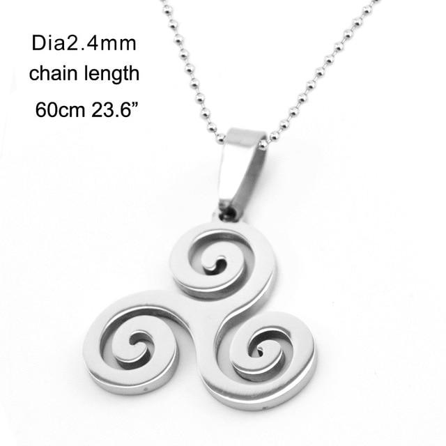 Celtic Triple Spiral Druid Charm Necklace Women Stainless Steel Triskel Inspired Pendantintothea-intothea