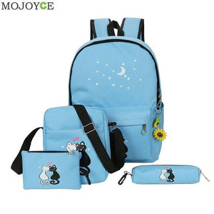 Brand 4Pcs/set Canvas Women Backpacks Shoolbags Printing Cute Cat School Bags Backpacksintothea-intothea