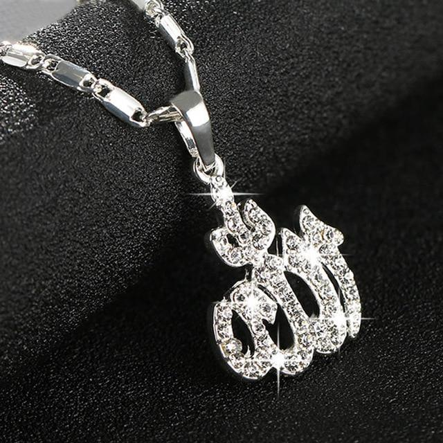 Islamic Allah Pendant Necklace For Women Silver/Gold Color Cubic Zirconia Necklaceintothea-intothea