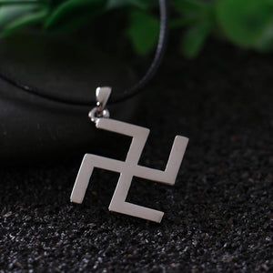 Silver Buddhism Peace Symbol Swastika Necklace with Leather Rope Jainism Hinduism Fineintothea-intothea