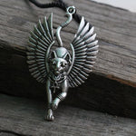 lanseis 1pcs Cat Bastet necklace Ancient Egyptian Bastet Statue Egyptian Sphinx Blackintothea-intothea
