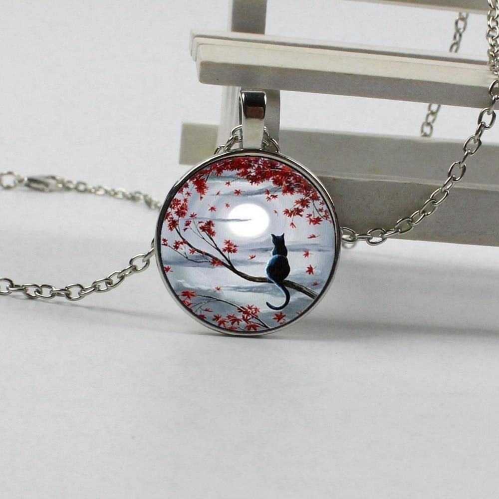 Free shipping 2018 new 3 color fashion cat crystal glass pendant necklaceintothea-intothea