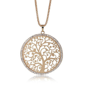 Tree Of Life Pendant Necklace Women Jewelry Elegant Crystal Rose Long Necklacesintothea-intothea