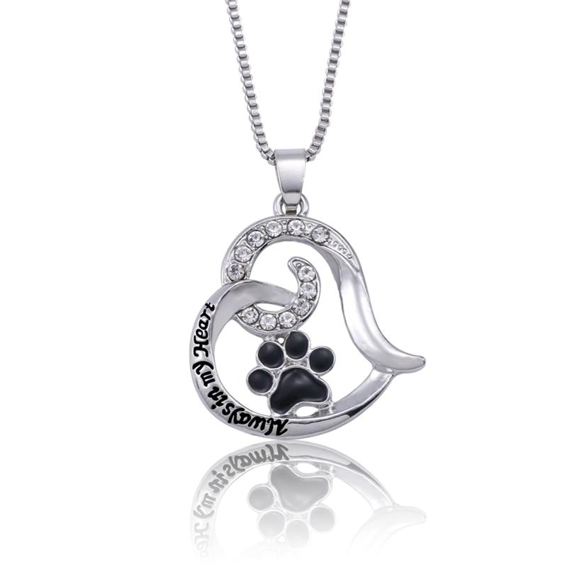 Trendy Pet Dog Claw Love Heart Pendant Necklace Women Carved Always Inintothea-intothea
