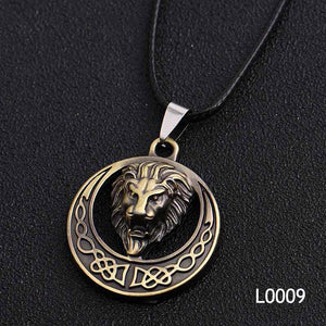 Gold Silver Lion Fashion Cool Skull Men's Pendant Stainless Steel Necklace Alloyintothea-intothea