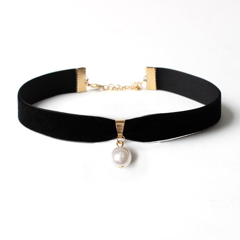 White Simulated Pearl Pendant Chokers Necklace Trendy Collar Black Leather Chokerintothea-intothea