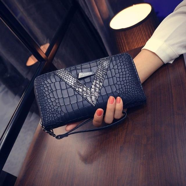 2018 New Pu Long Women Wallet Crocodile Pattern women's purse Best Phoneintothea-intothea