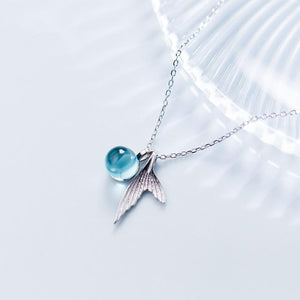 100% 925 Sterling Silver Blue Crystal Mermaid Pendant Necklace For Women Weddingintothea-intothea