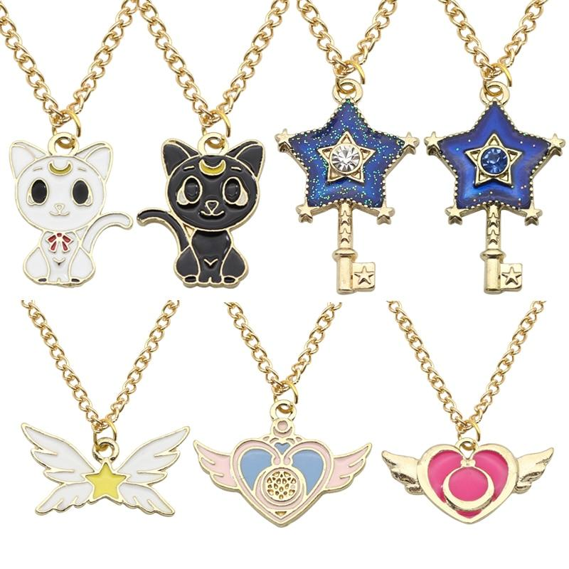 Hot Anime Sailor Moon Jewelry Cat Star Key Heart Wings Charm Necklacesintothea-intothea