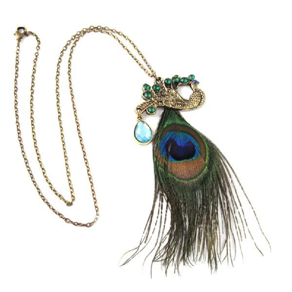 Fully-Jewelled Peacock Pendant Necklace Bohemian Phoenix Sweater Chain Ornament Christmas Newintothea-intothea