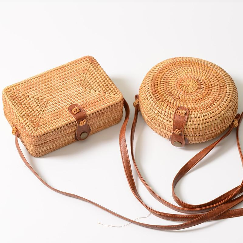 Female Round/Rectangular Rattan Bag 2018 Mini Crossbody Bag Women Boho Style Retrointothea-intothea