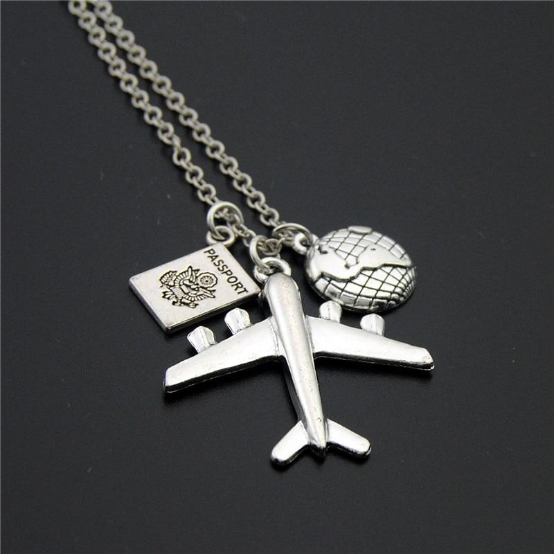 1pc 2018 Wanderlust Passport Earth Airplane Necklaces & Pendants Silver Travling Handmadeintothea-intothea