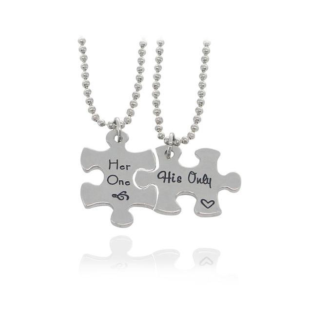 DIY Best Friends Necklace Letter Her One His Only Necklaces&Pendants Love Heartintothea-intothea