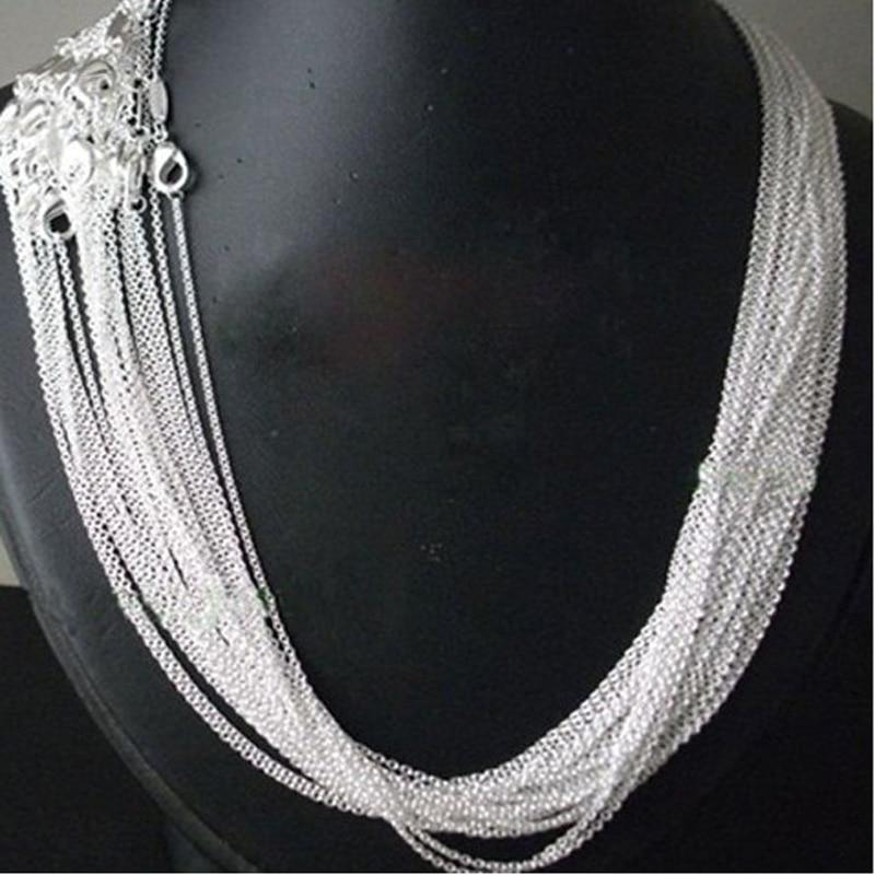 "wholesale Price 50pcs/lot 925 stamped Silver Plated 1mm Link Rolo Chains 16"",18""intothea-intothea"
