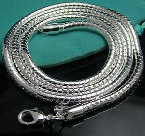"Fashion 3mm Silver Snake Chain Necklace,925 Jewelry Silver Plated Necklaces Chains 16""-24""intothea-intothea"