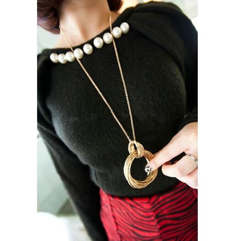 High Quality Sweater Pendant Necklaces for Women Fashion Long Maxi Necklaces Circleintothea-intothea