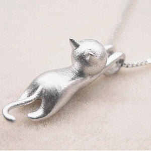 Cute Fly Cat Pendant Clavicle Fashion Necklace Silver Color Chain kolye Clothingintothea-intothea