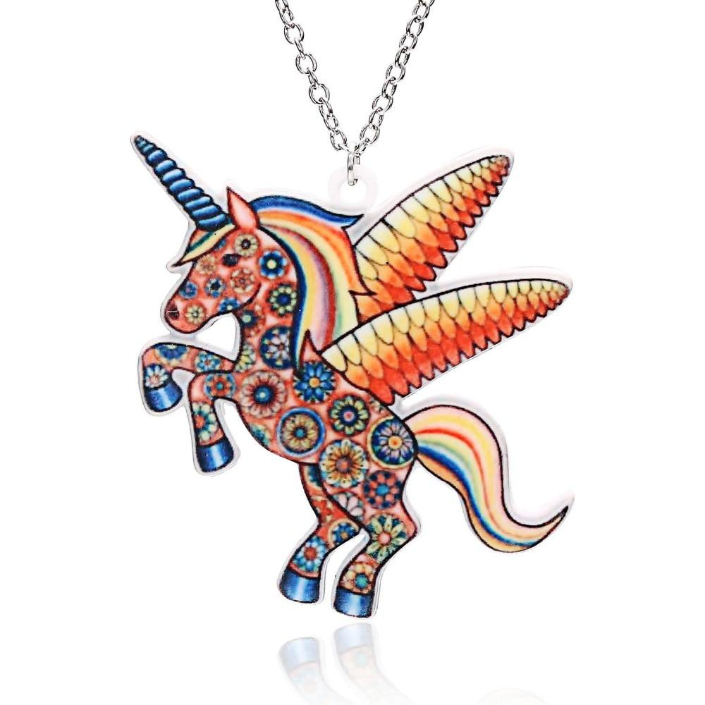 Acrylic HORSE Necklace For Girls Children Kids Cartoon Horse jewelry accessories Womenintothea-intothea