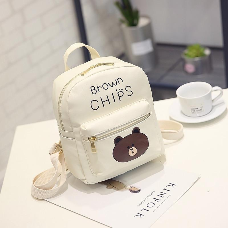 Lovely Cartoon PU Leather Mini Backpack Women Travel Portable Softback Bag Printingintothea-intothea
