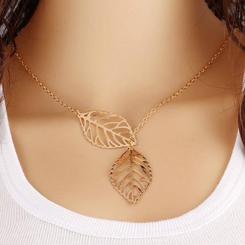 Fashion Jewelry New Gold And Silver Two - Leaf Pendant Necklace Multiintothea-intothea