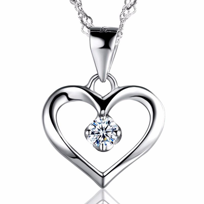 Trendy Women Heart Crystal 925 Sterling Silver Necklaces Jewelry CZ Zirconintothea-intothea