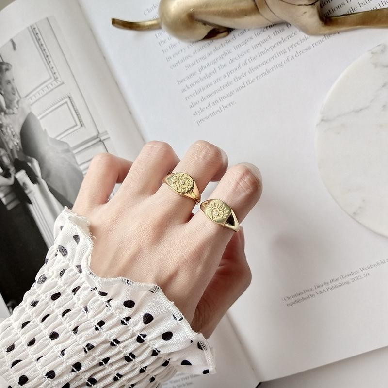 LouLeur 925 sterling silver Retro pattern open rings gold round square abstractintothea-intothea