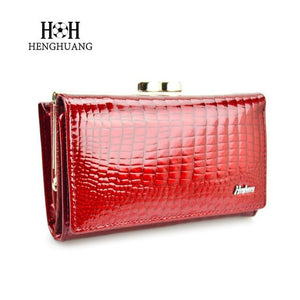 Luxury Women Genuine Leather Alligator Short Wallet Female Zipper Hasp Largeintothea-intothea