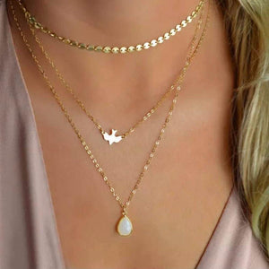 1 Pc New Bohemian Peace Pigeon Water Drop Opal Pendant Necklace Multi-Layerintothea-intothea