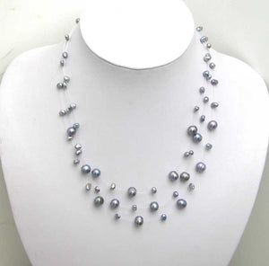 SALE! New Design! beautiful! Starriness Black Freshwater Pearl Necklace -5121 Wholesale/retail Freeintothea-intothea