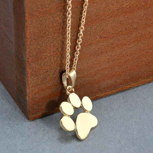 Fashion Cute Pets Dogs Footprints Paw Chain Gold Silver Pendant Necklace Necklacesintothea-intothea