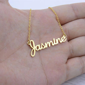 Any Fonts Customized Name Necklace Pendant Stainless Steel Chain Heart Wings Womenintothea-intothea