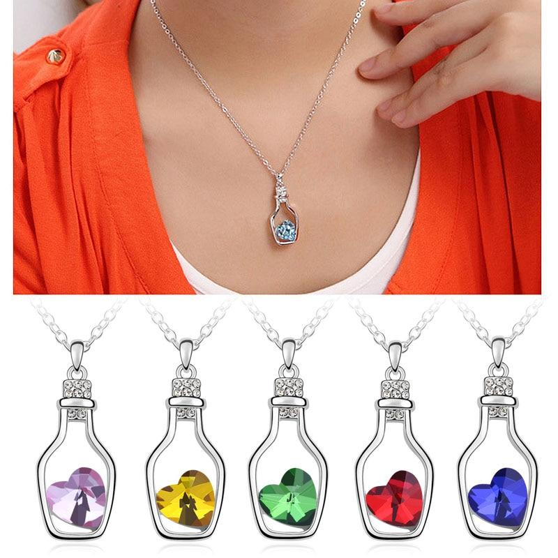 Fashion Romanntic Love Wish Drifting Bottle Heart Shaped Crystal Pendants Necklace Femaleintothea-intothea