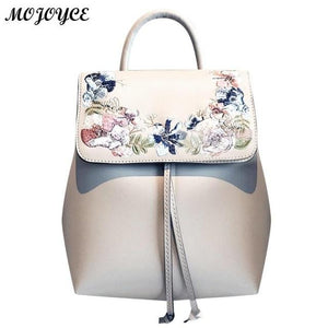 Women Mini Embroidery Flower PU Leather Backpacks Multifunction High Quality Casualintothea-intothea
