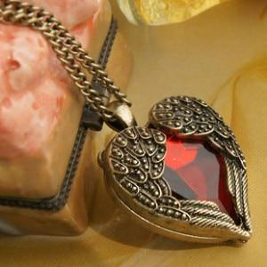 Retro Fashion Jewelry Crystal Bohemian Necklace Court Red crystal Heart Wings Longintothea-intothea