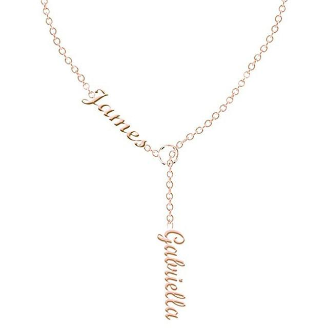 "Name Necklace Personalized Double Names Necklace Custom Made with 2 Names 16""-18""intothea-intothea"
