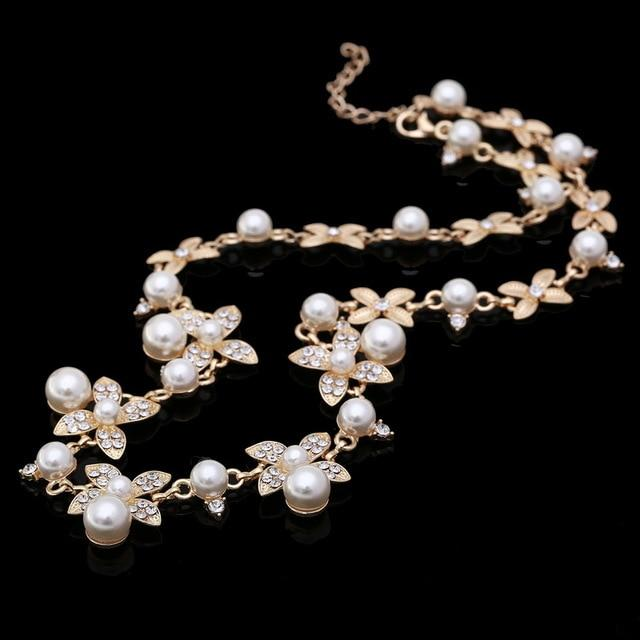 Sweet Long Imitate Pearl Choker Necklace Bridal Jewelry Women Banquet All-match Beadedintothea-intothea