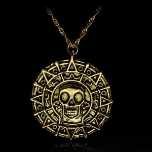 Movie Pirates of the Caribbean Necklace Aztec coin Vintage Gold Captain Jackintothea-intothea