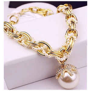 White Imitation Pearl Golden Alloy Choker Necklace With Big Dangles For Womenintothea-intothea