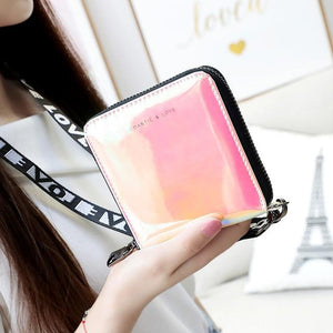 New Women Short Wallet Clutch Laser Wallet Fashion Standard Zipper Wallets Designerintothea-intothea
