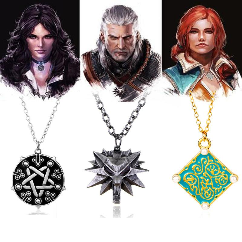 The Witcher 3 Wild Hunt Geralt Wolf Necklace ,Triss Medallion Necklace,Yenneferintothea-intothea