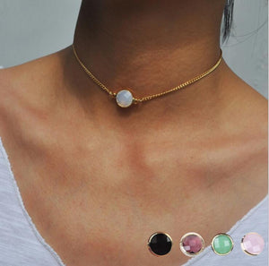 Fashion Short necklace 4 colors Crystal Pedant Choker Necklace For Womenintothea-intothea
