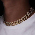 Karopel Iced Out Bling Rhinestone Golden Finish Miami Cuban Link Chain Necklaceintothea-intothea